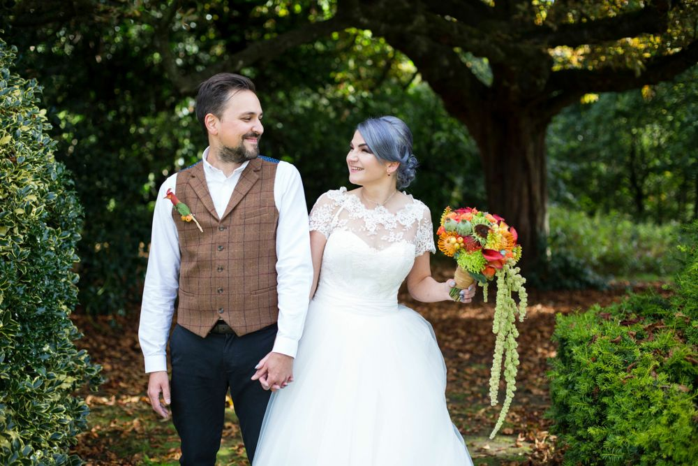 Gothic bride and groom alternative Autumn wedding at Highbury Hall