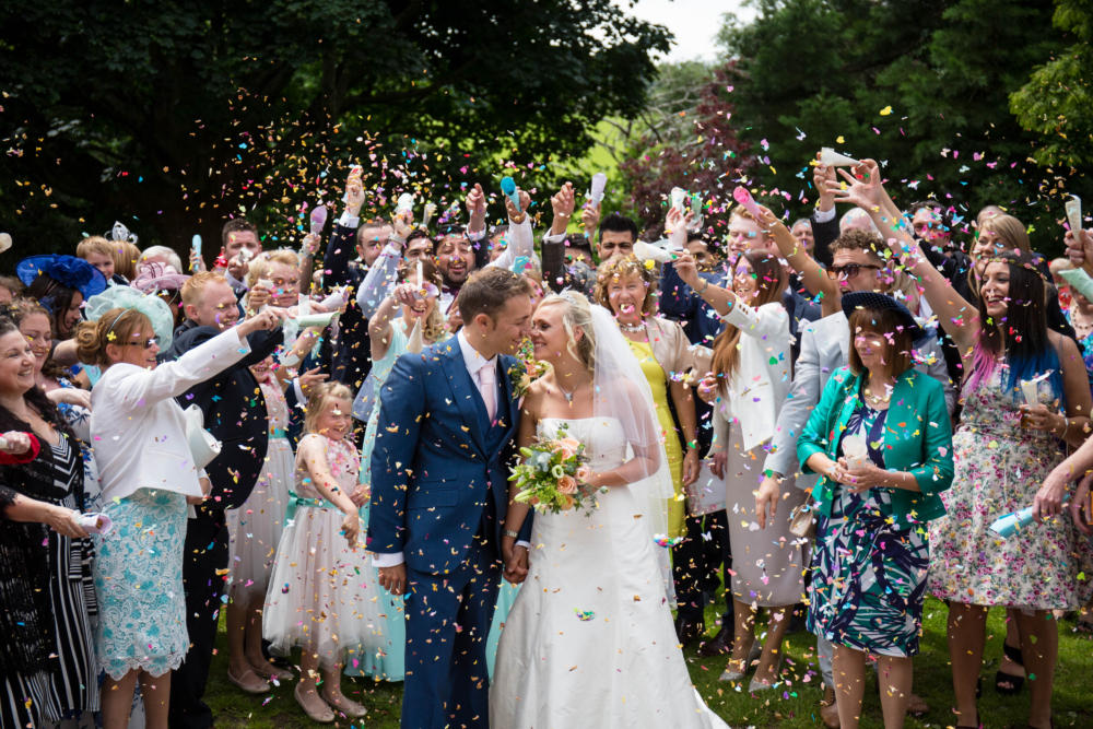 Confetti shot at Pimhill Barn Summer wedding