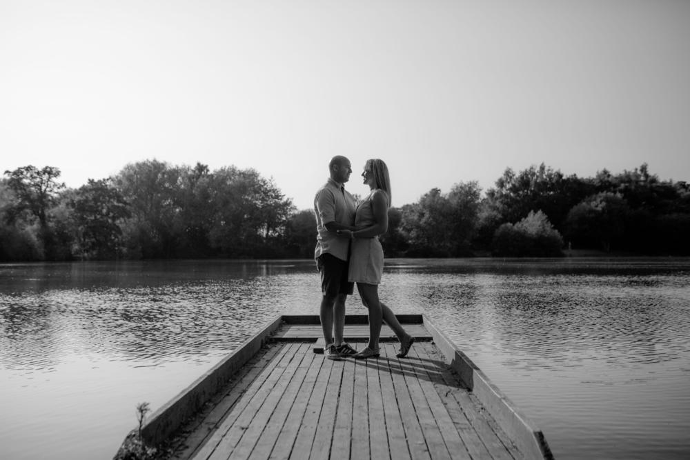 Apley Woods Couple Photo Shoot Black and White Jetty overlooking water