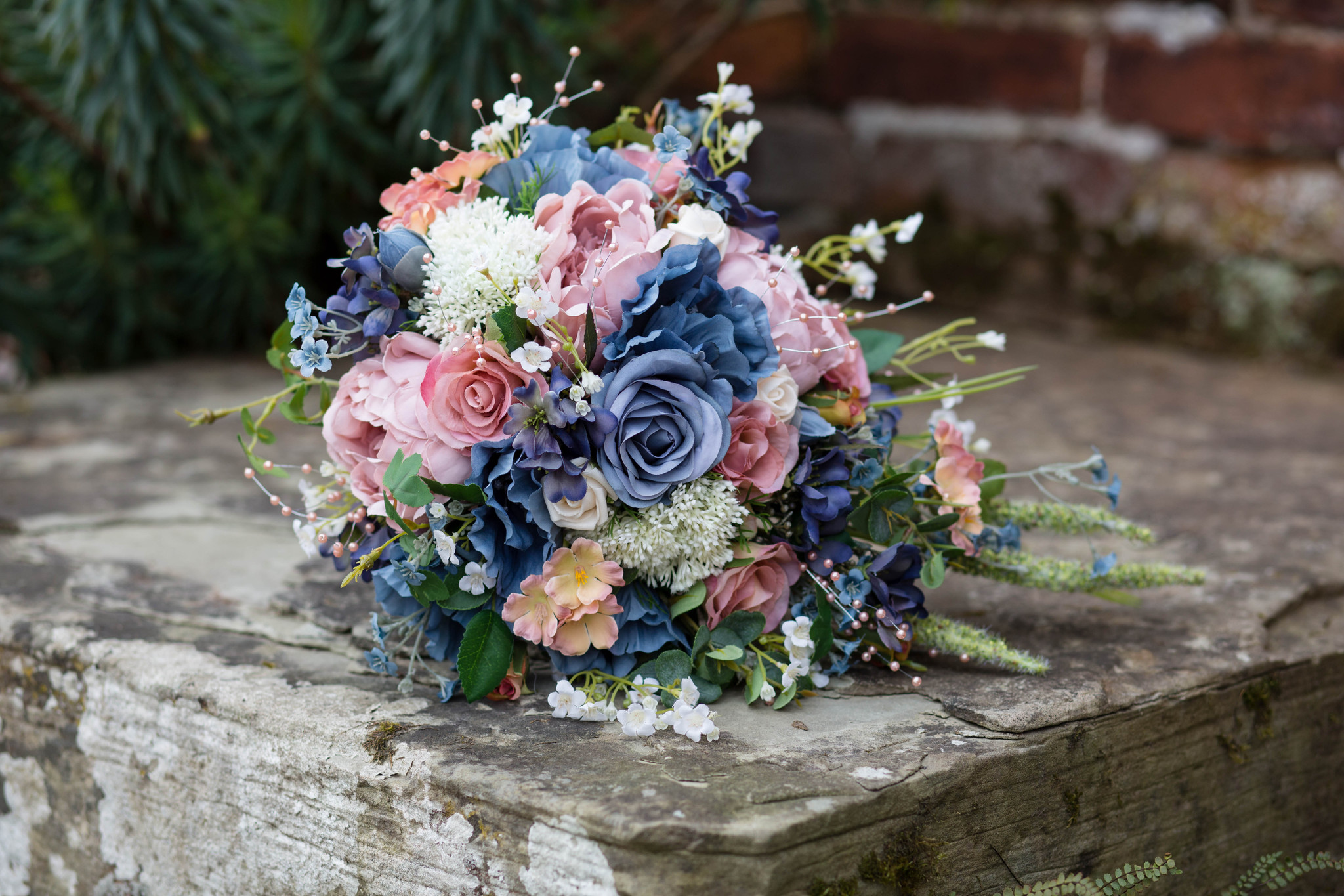 Delbury hall artificial flowers bridal bouquet with blue and peach roses
