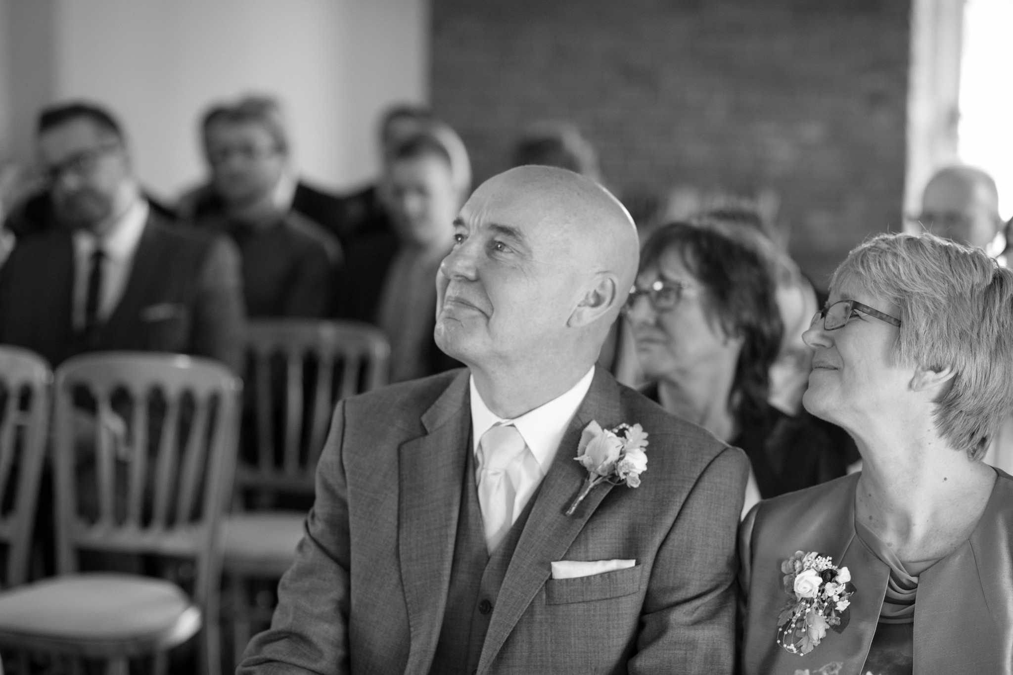 Father of the bride indoor ceremony black and white Delbury hall