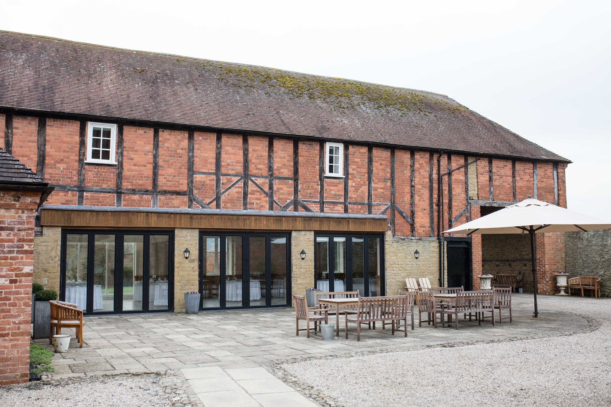 Delbury Hall coach house exterior Spring wedding