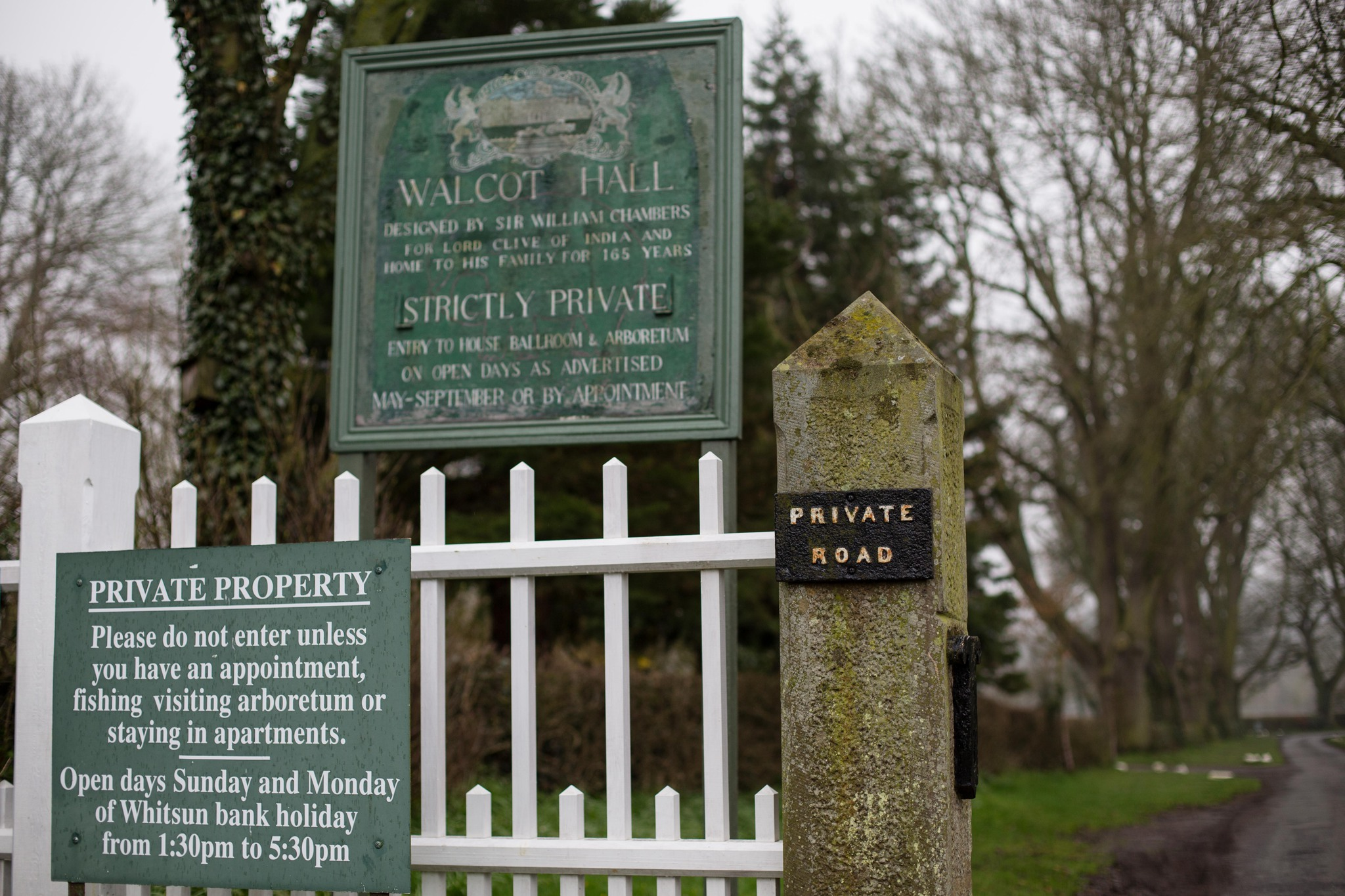 Walcot Hall Sign on drive