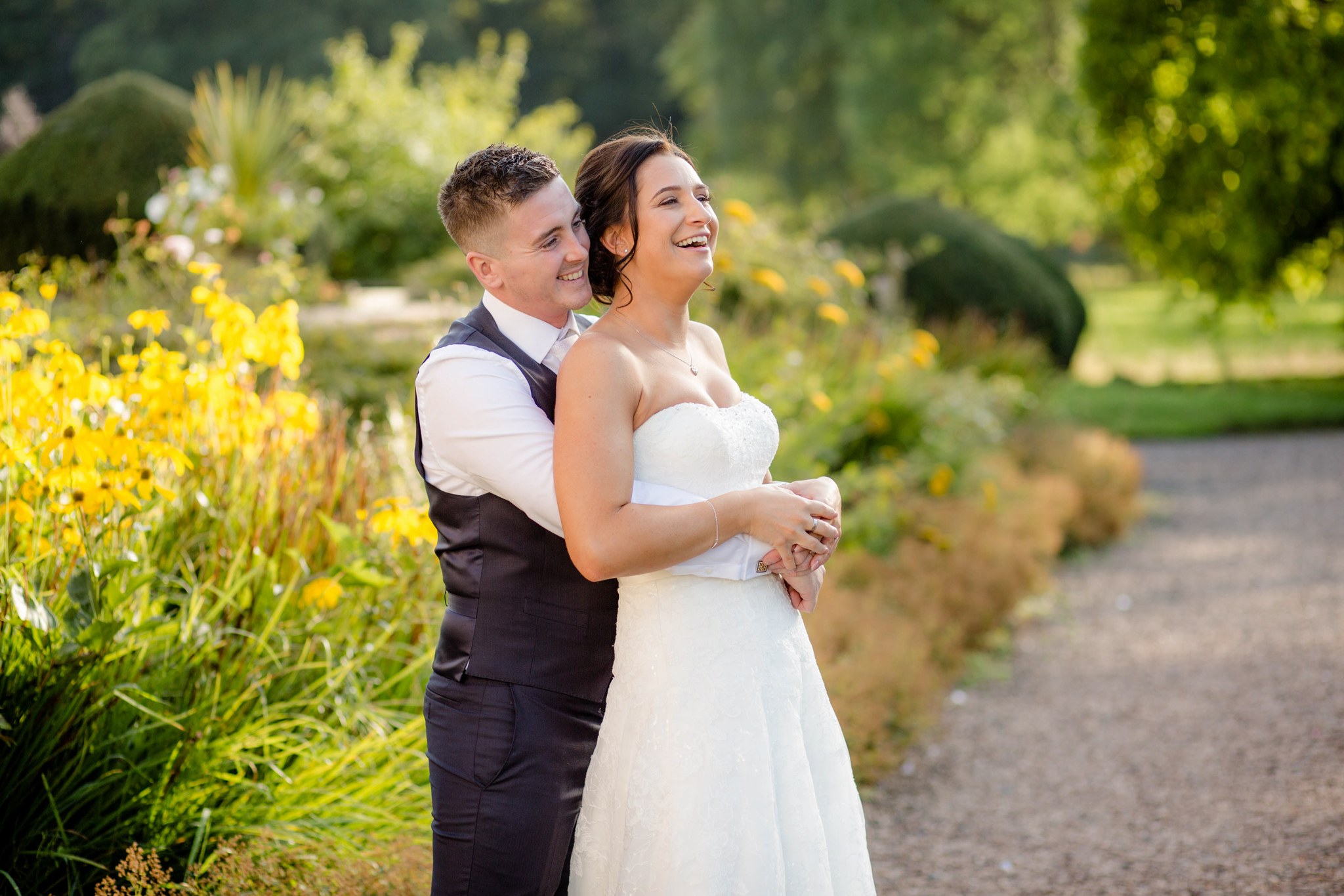 Iscoyd Park wedding couple warm sunset
