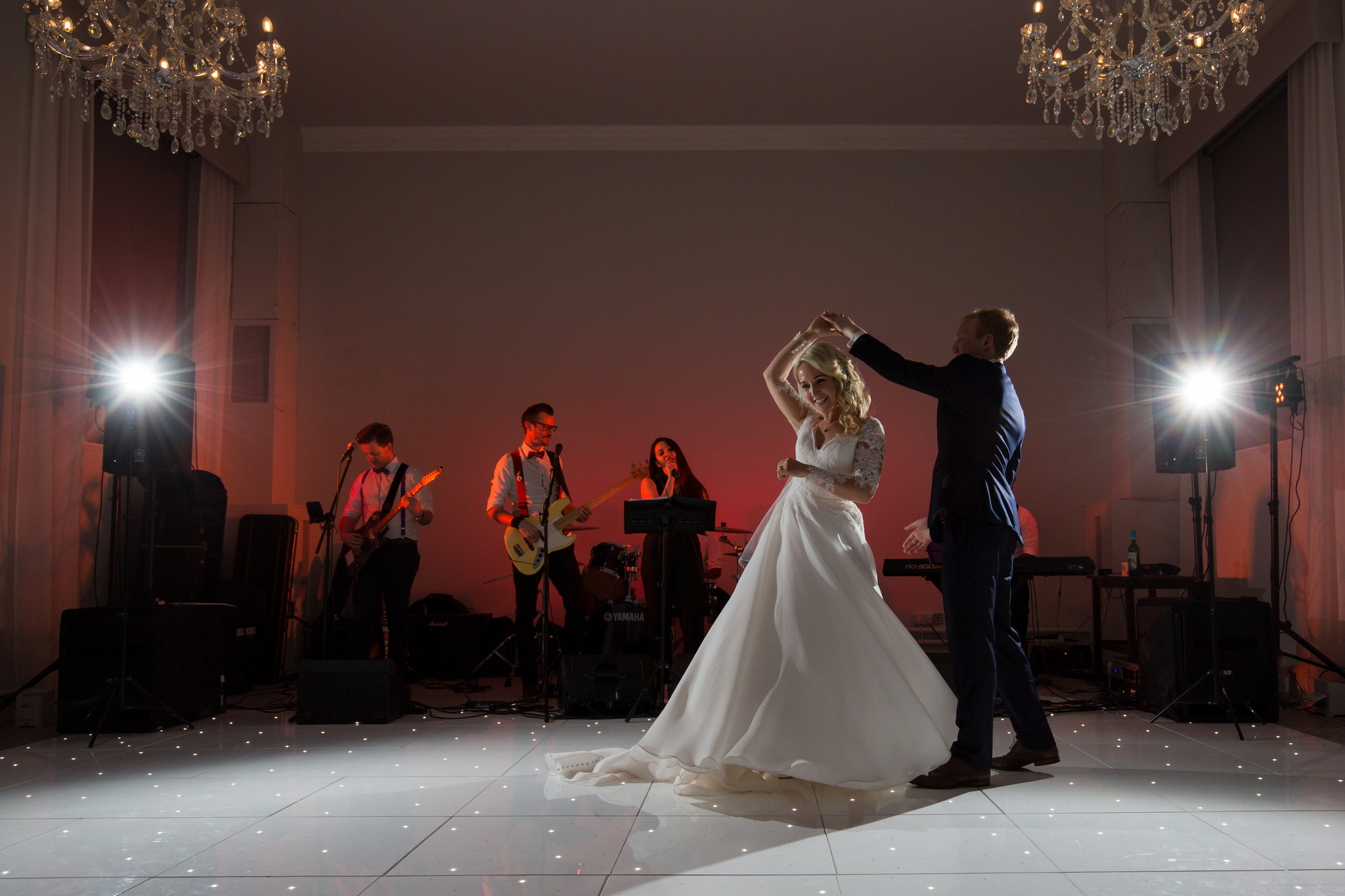 Hawkstone Hall Wedding Photographer Nicola Gough First Dance in the refractory