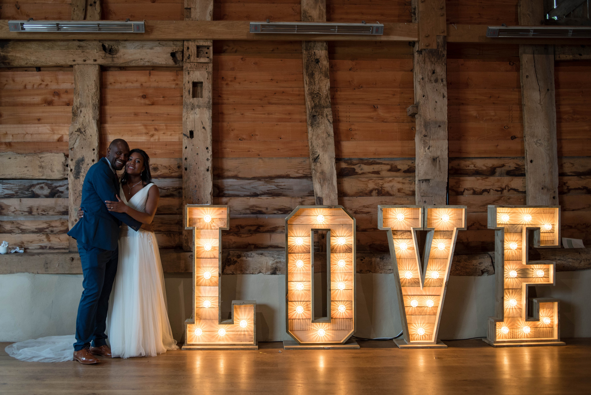 Pimhill Barn wedding with light up love letters