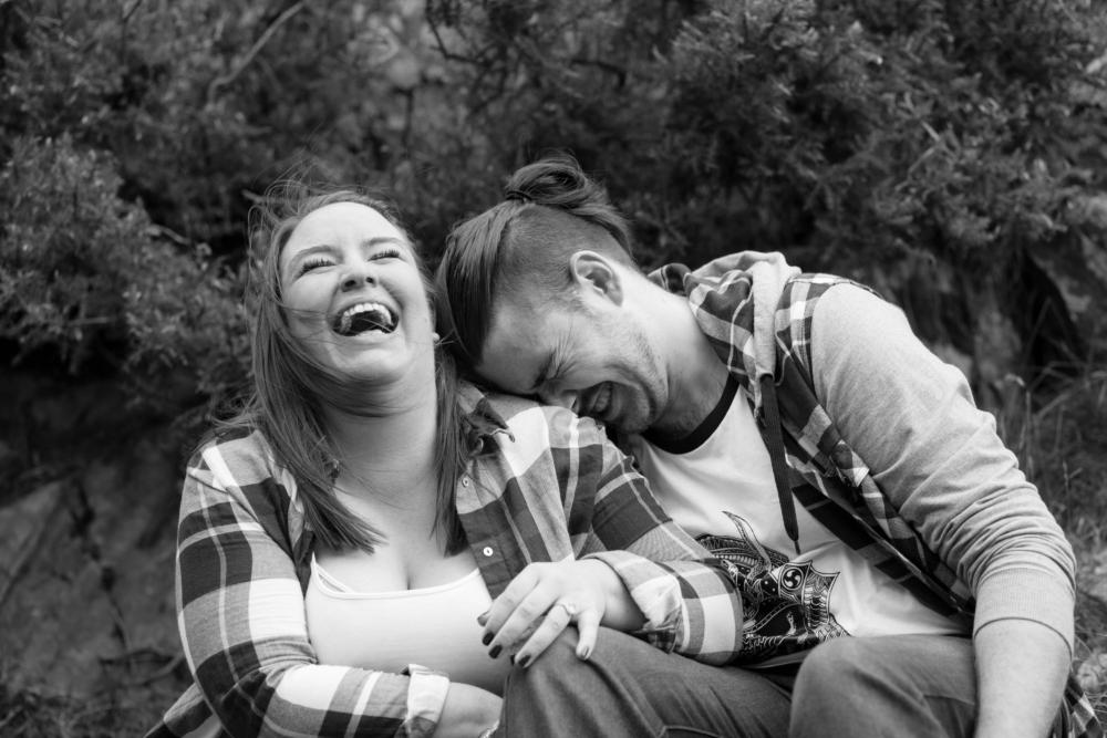Carding Mill Valley couple's shoot black and white photo people laughing