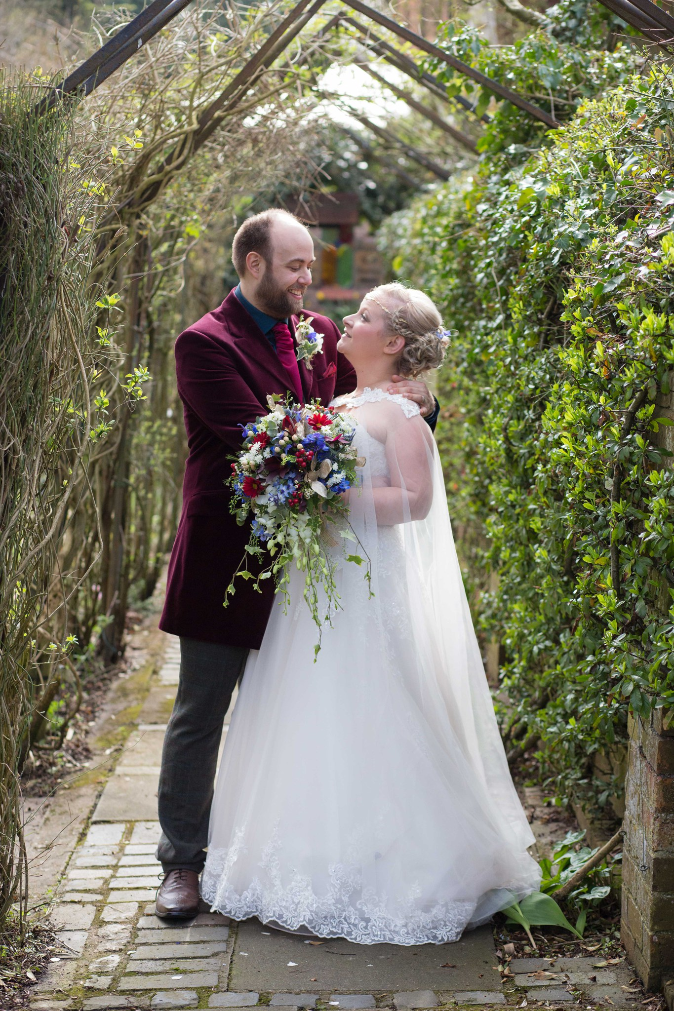 Hundred House garden spring wedding day couples portraits