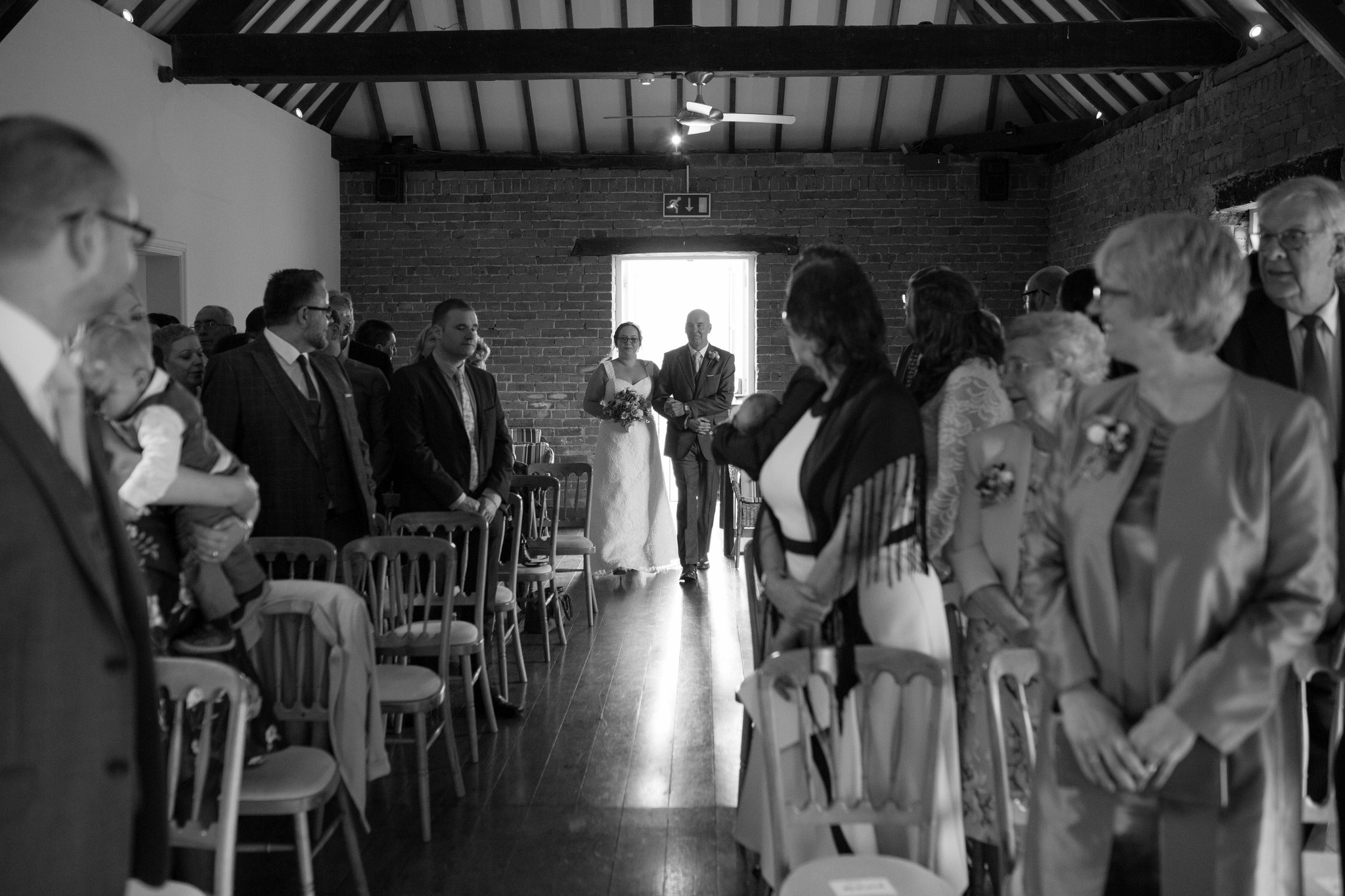 Delbury Hall indoor ceremony black and white