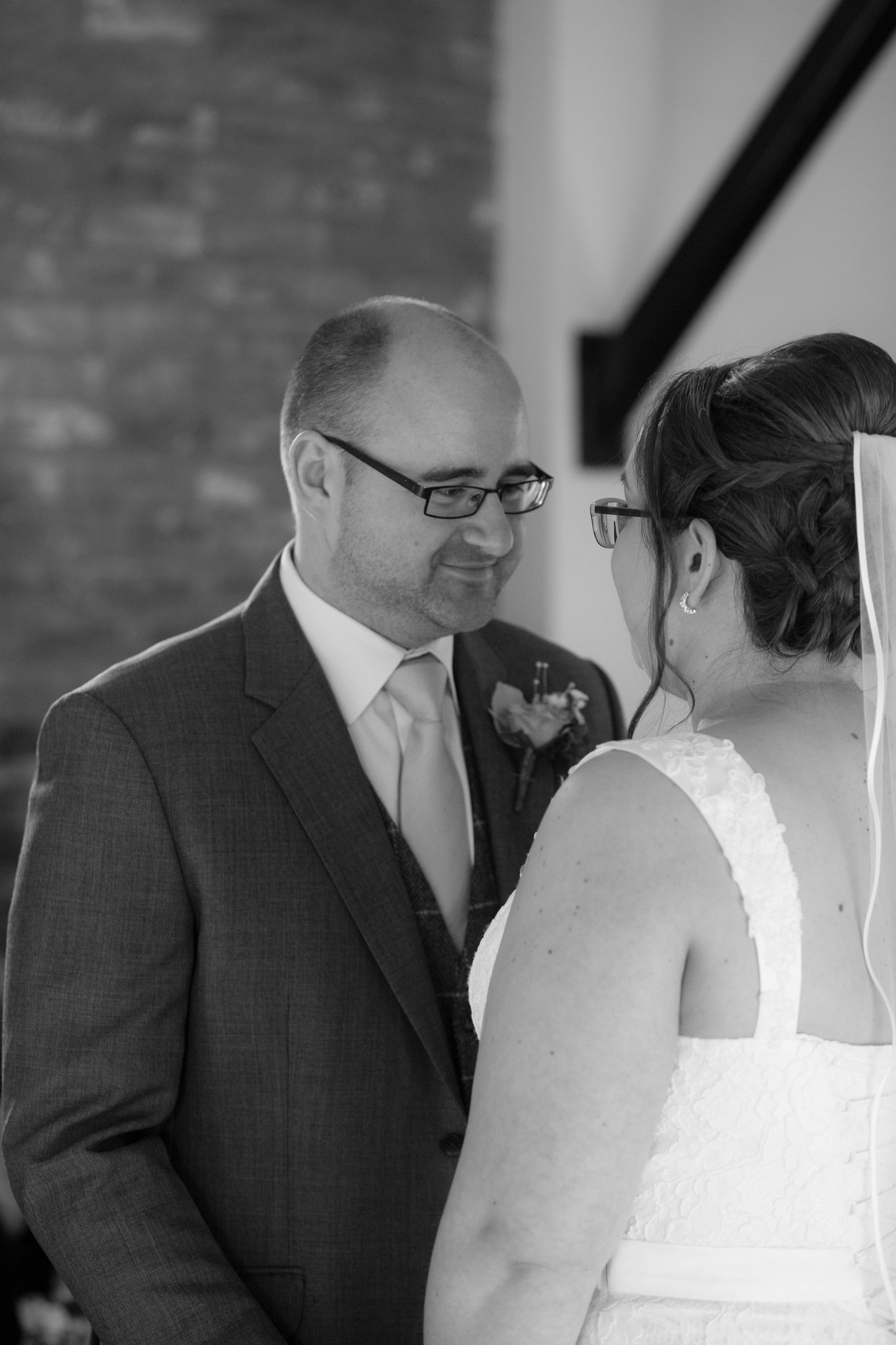 Delbury hall indoor ceremony first kiss