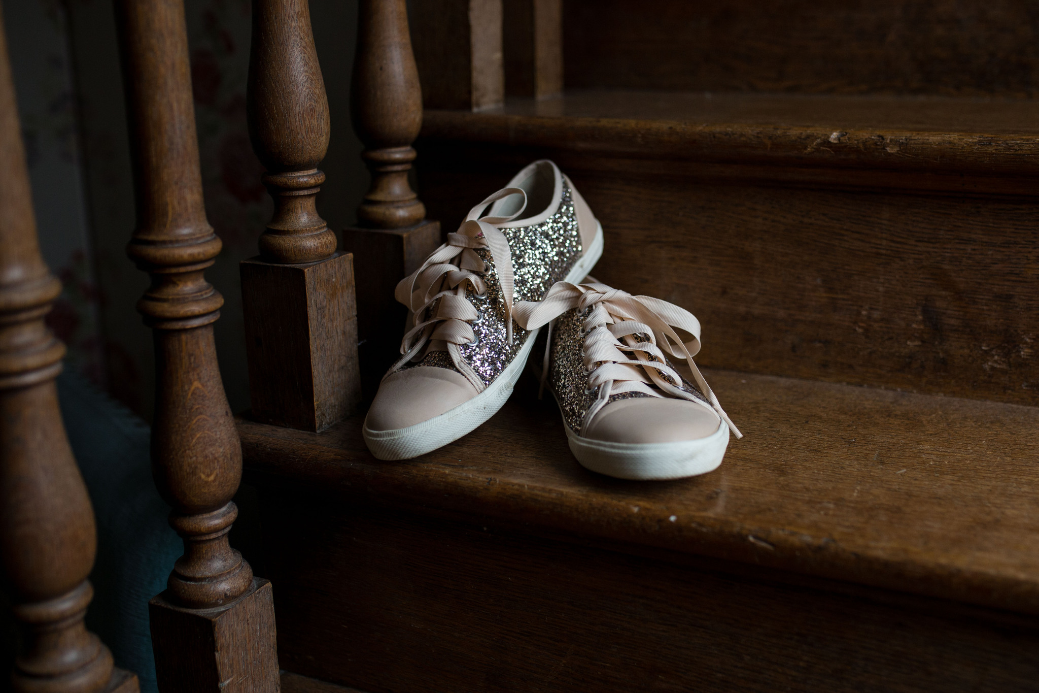 Converse wedding shoes rose gold with glitter